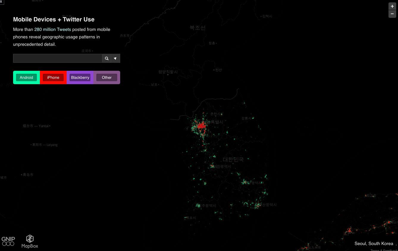 韓国のスマホ分布地図