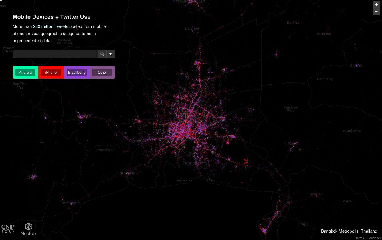 バンコクのスマホ分布地図