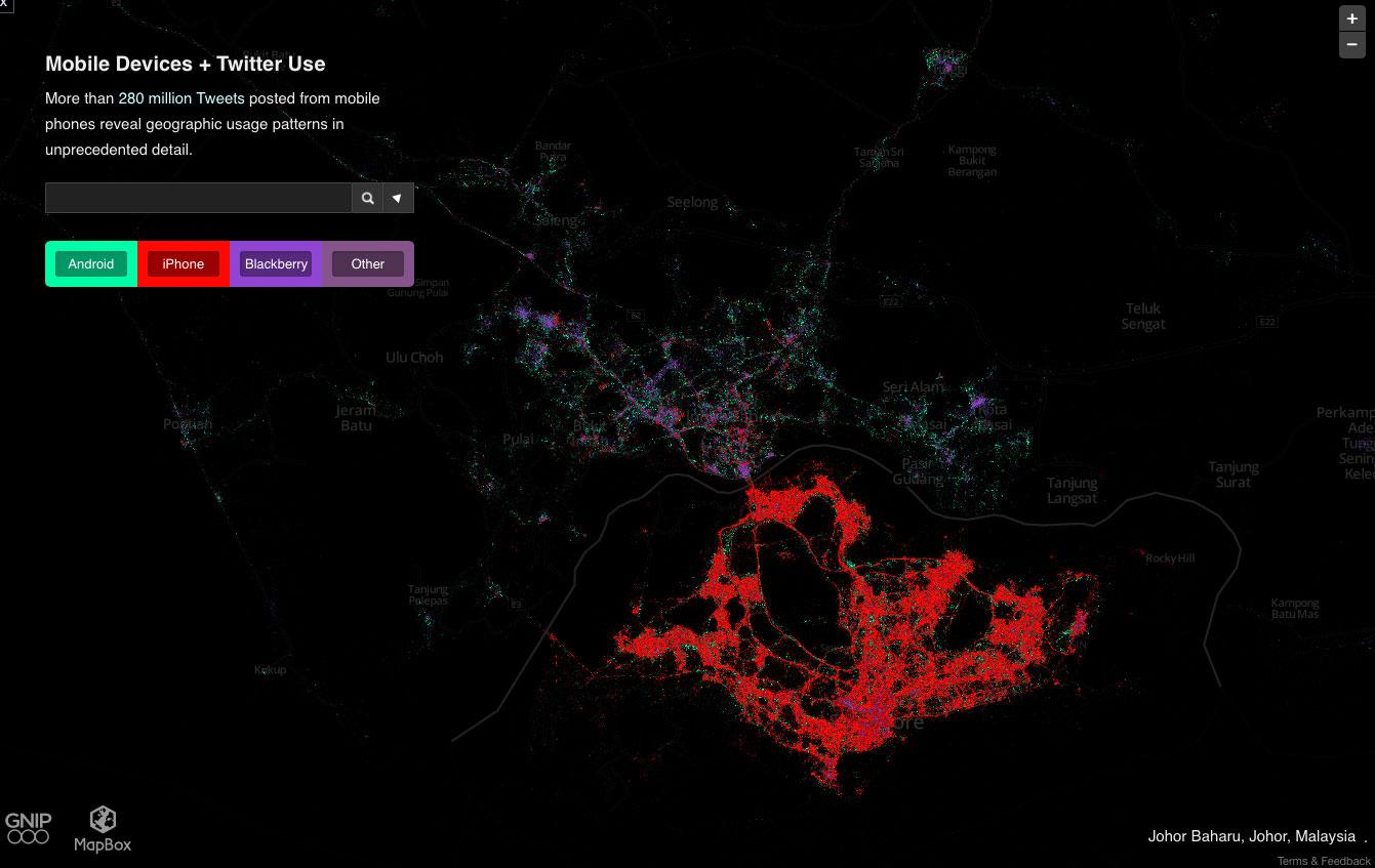 シンガポールのスマホ分布地図