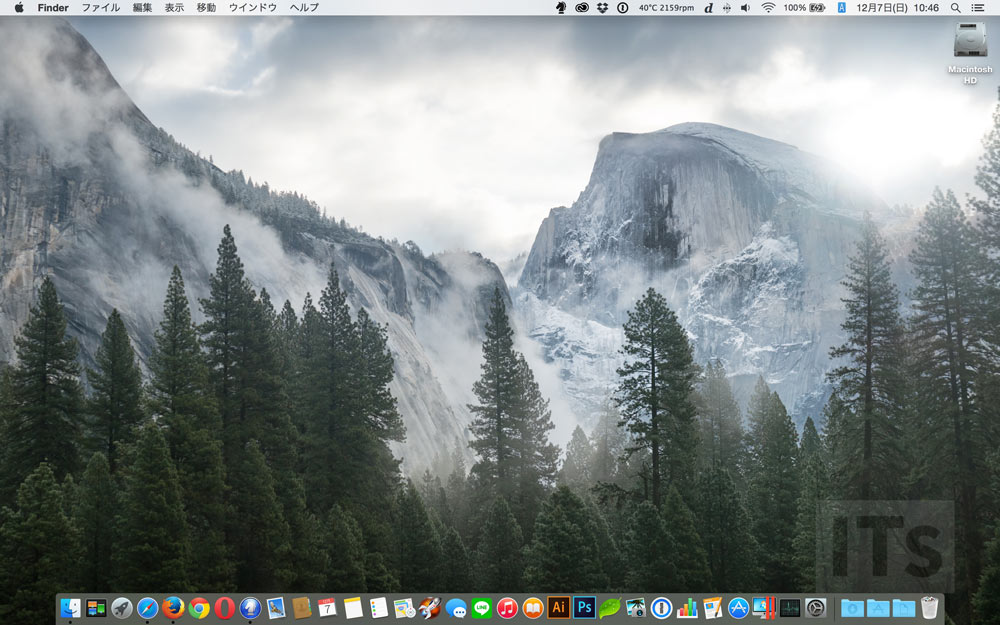 OS X 10.10 Yosemite デスクトップ画面