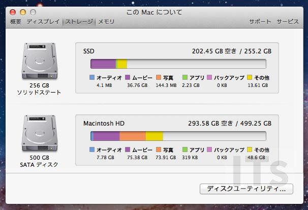OS X 10.7 Lion ストレージ容量