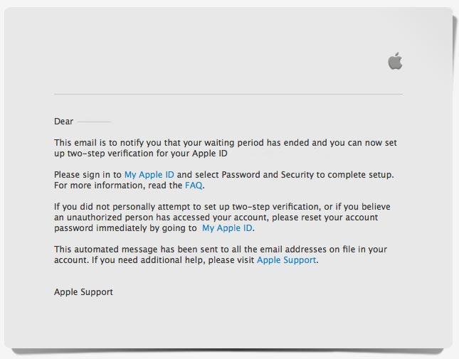Apple ID 設定3日目の通知
