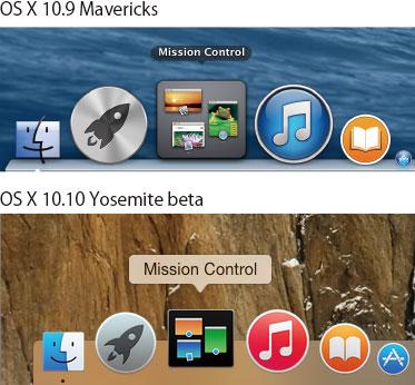 OS X Yosemite Dockデザイン