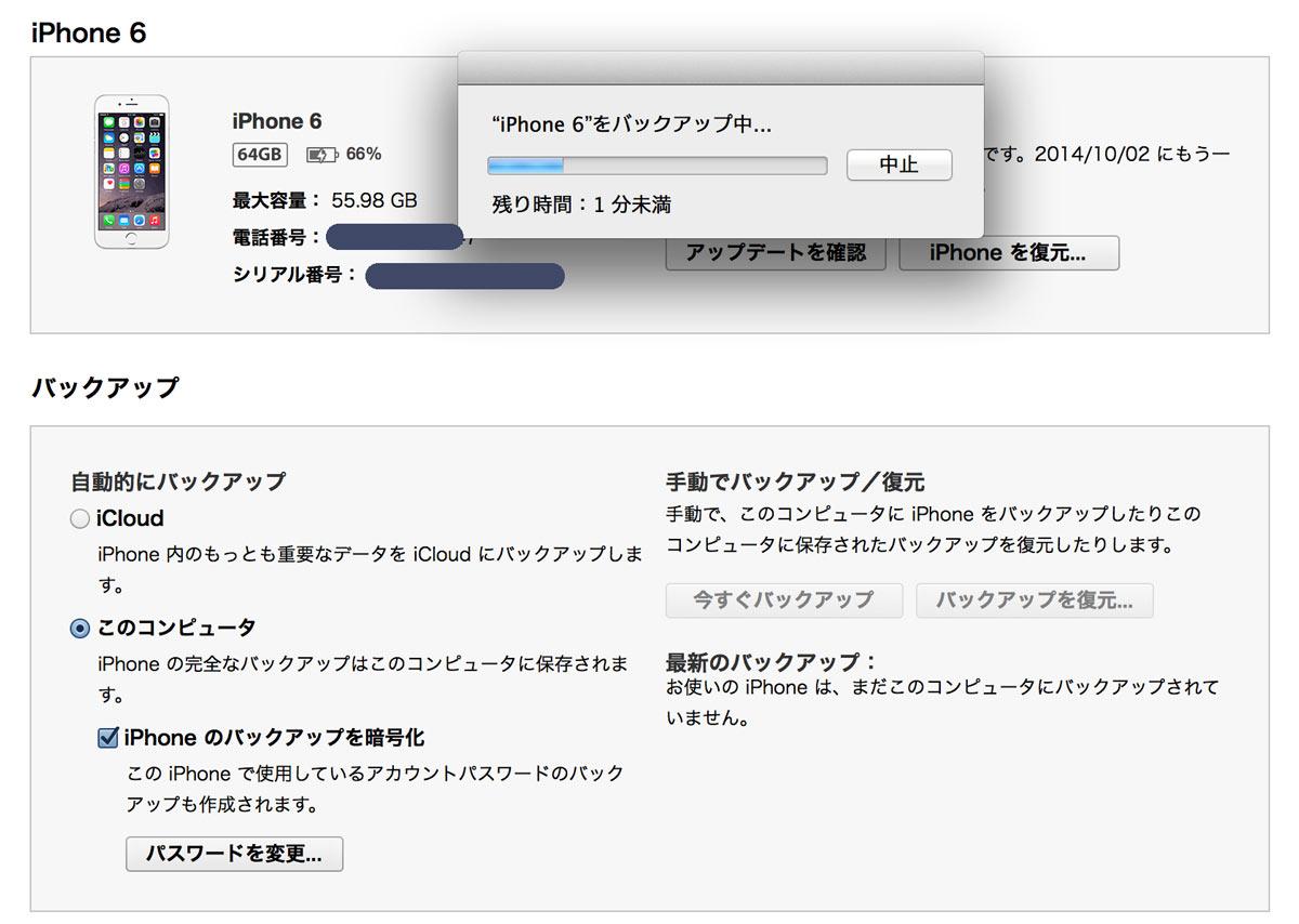 iPhone 6 バックアップ