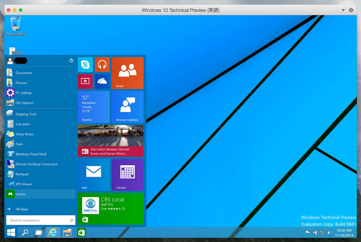 Windows 10 Technical Preview スタートメニュー