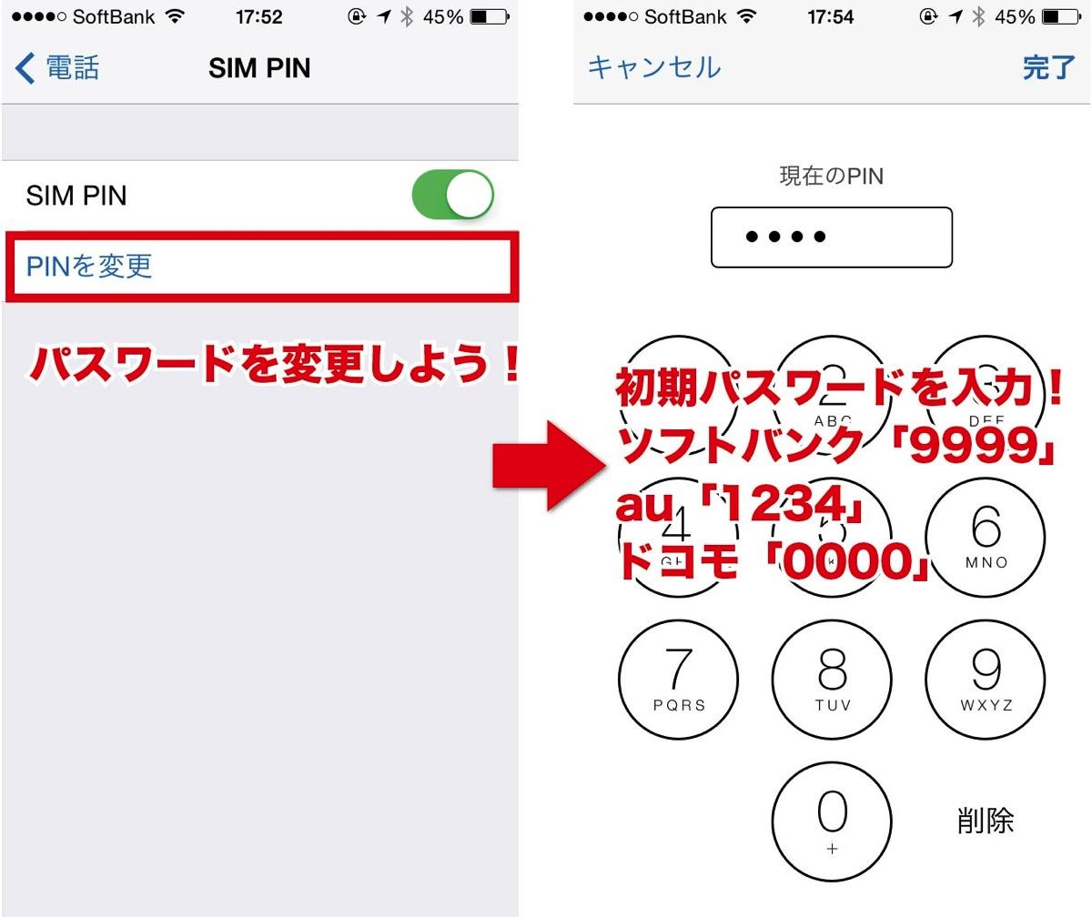SIM PINのコードを変更する