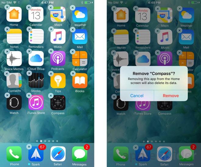 iOS10 純正アプリ削除