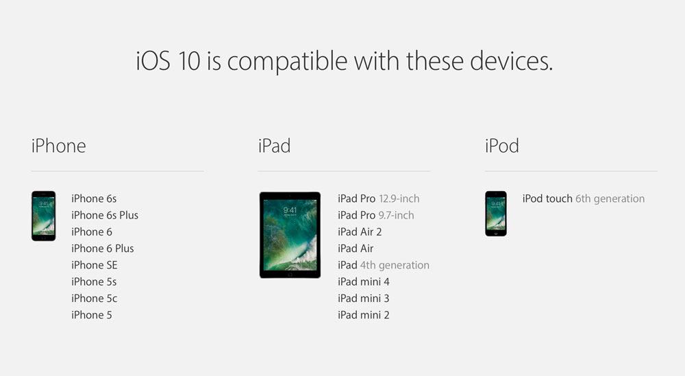 iOS10 対応機種