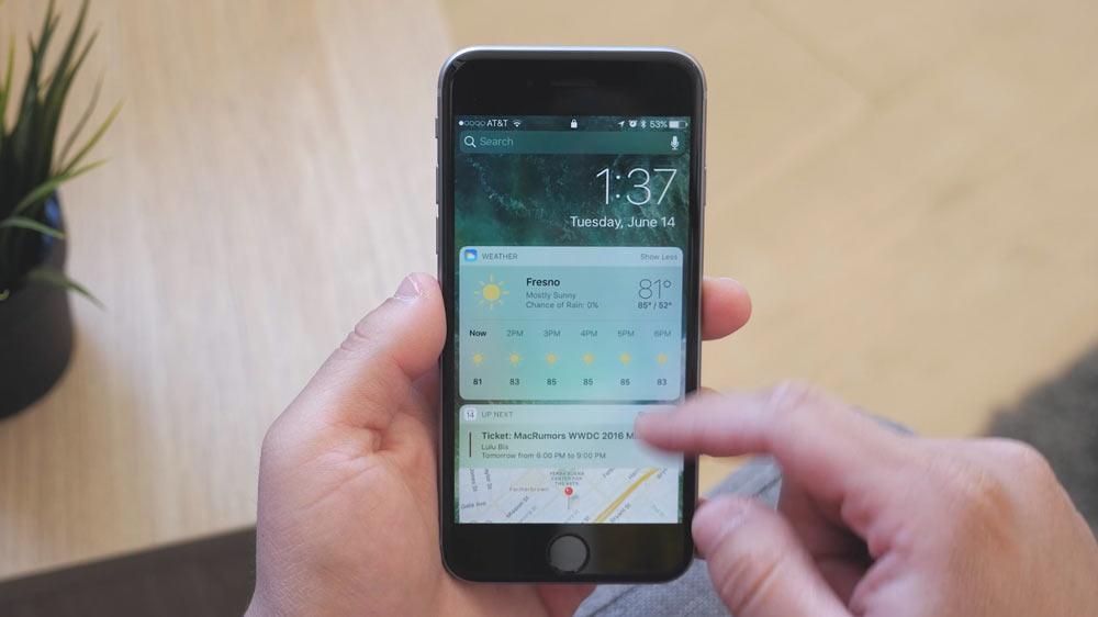 iOS10 ウェジェット画面