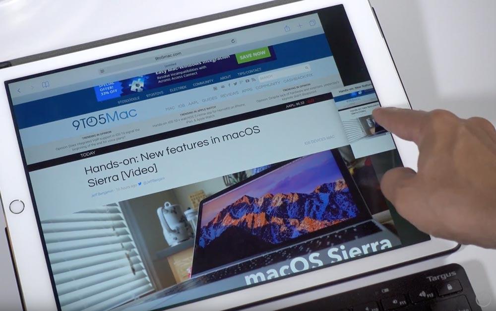 iOS10 2画面表示機能 Safari タブ移動