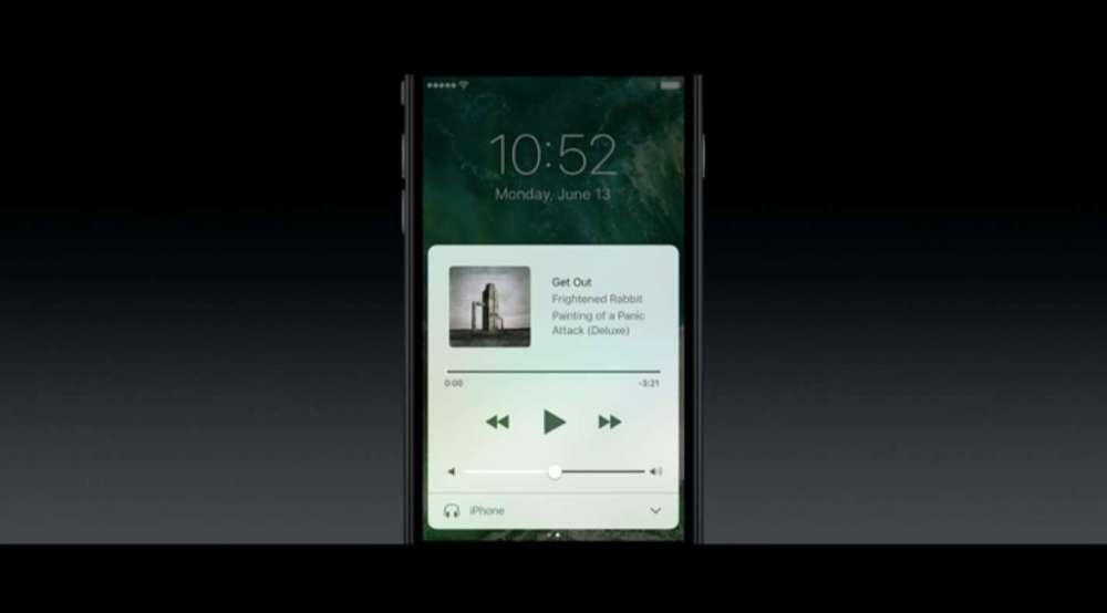 iOS 10 ロック画面から音楽プレーヤー