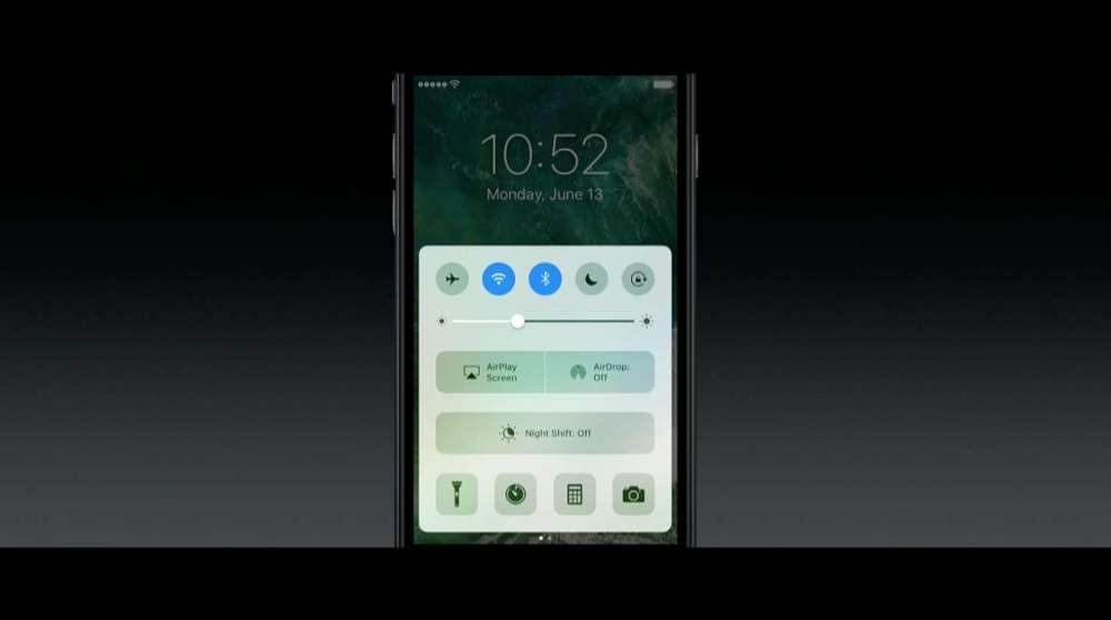 iOS10 コントロールセンター