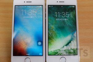 iOS9とiOS10のロック画面