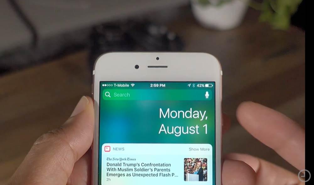 ウェジェット画面に日付 iOS10