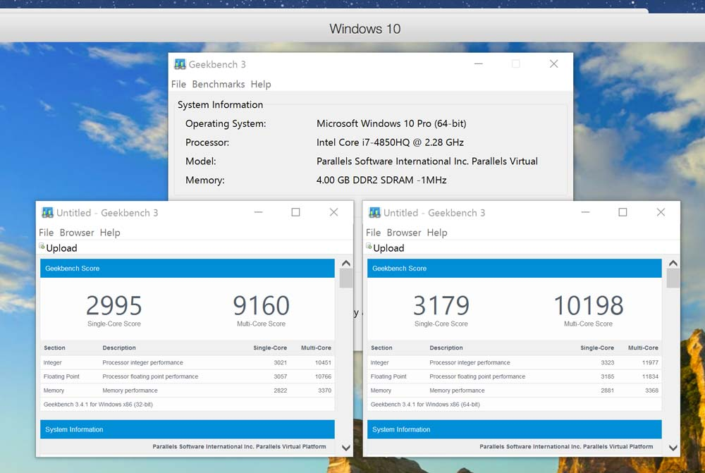 Hypervisor Parallels Desktop 12 for Mac Geekbench3