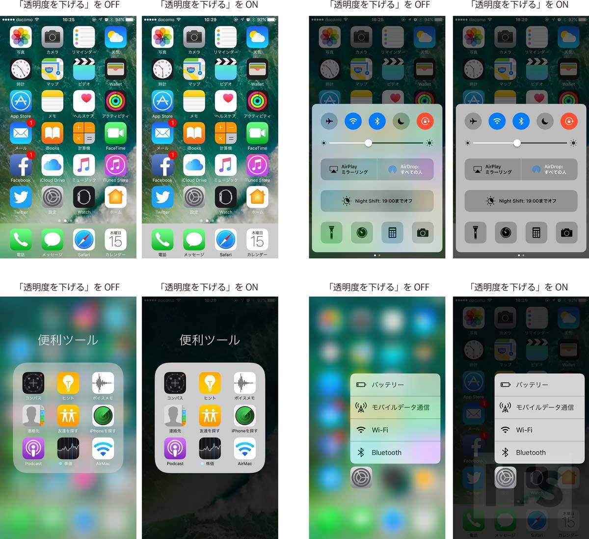 iOS10 透明度を下げる