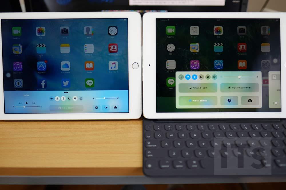 iOS10 iPadのコントロールセンターの画面