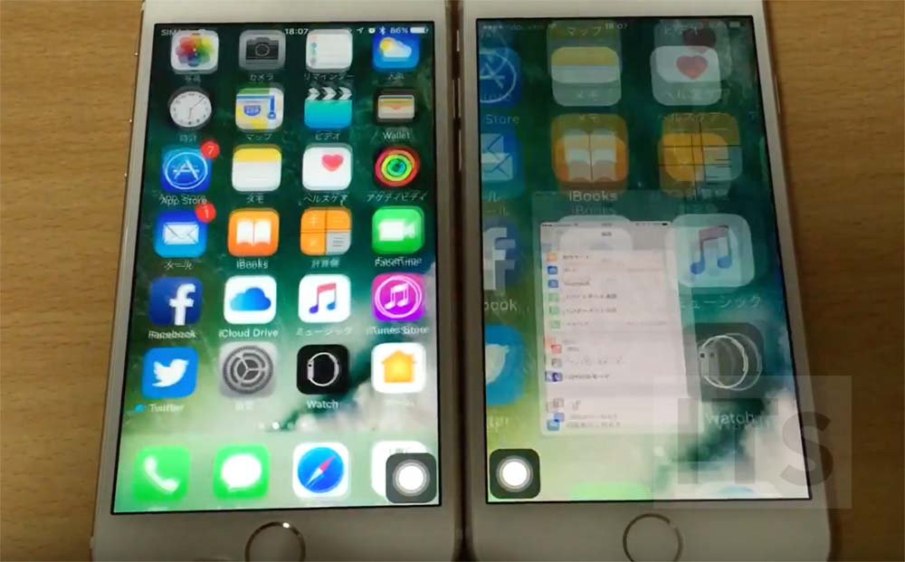 iPhone6sとiphone7のホーム画面に戻るエフェクト