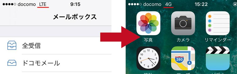 iOS10 docomoの4G表記