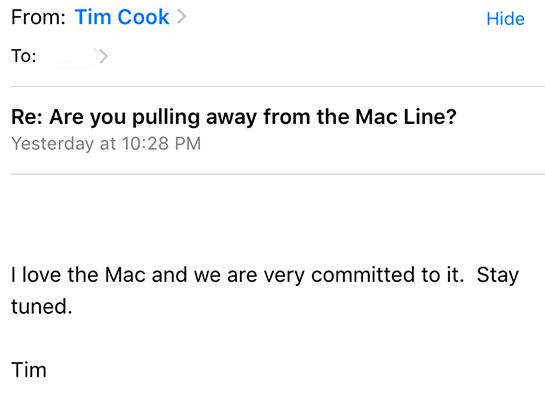 ティムクックCEOのメール