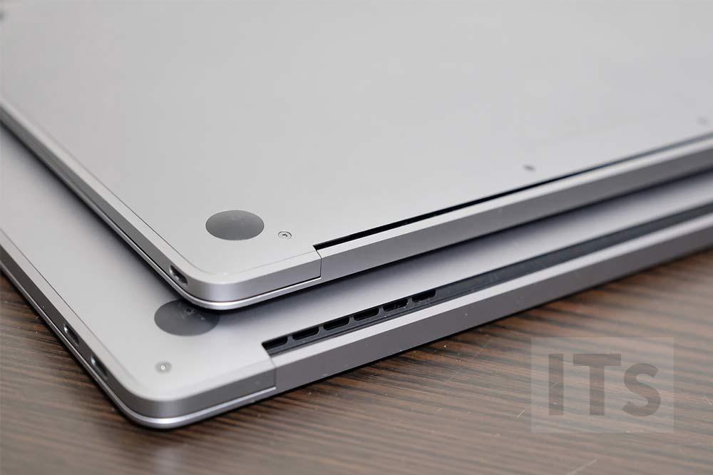 下:13インチMacBook Pro、上:12インチMacBook