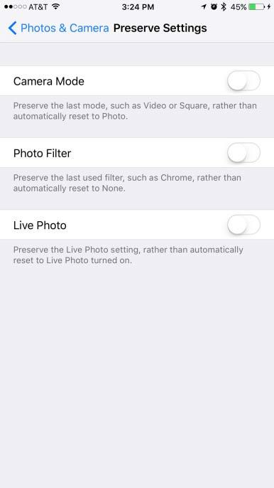 iOS10.2.2 カメラの設定