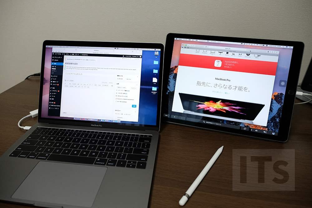 duet-display MacBook Pro 13とiPad Pro 12.9