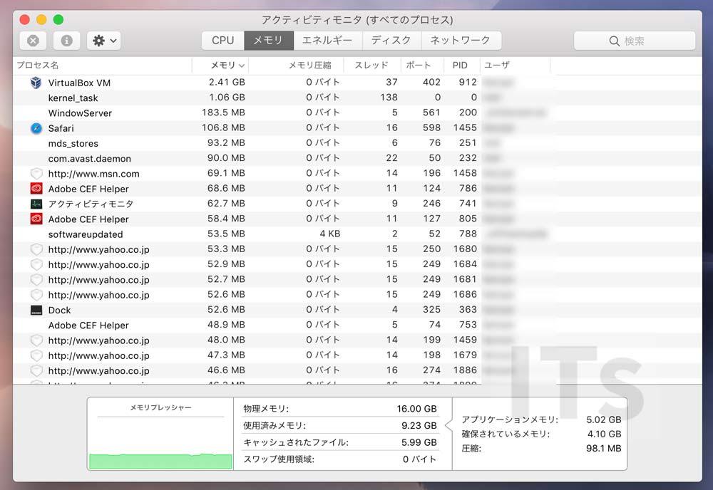 16GB RAM メモリ使用状況