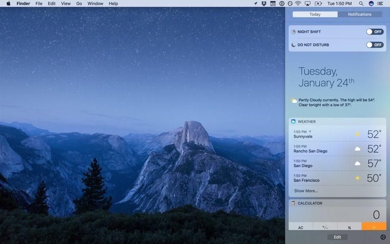 macOS Sierra 10.12.4 ナイトシフト