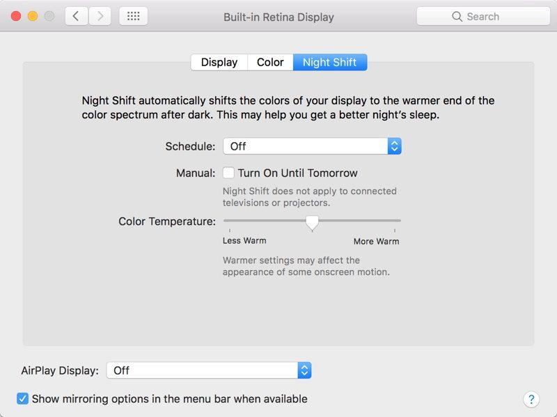 macOS Sierra 10.12.4 ナイトシフトの設定画面