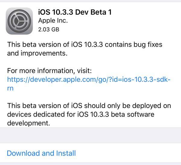 iOS10.3.3 beta