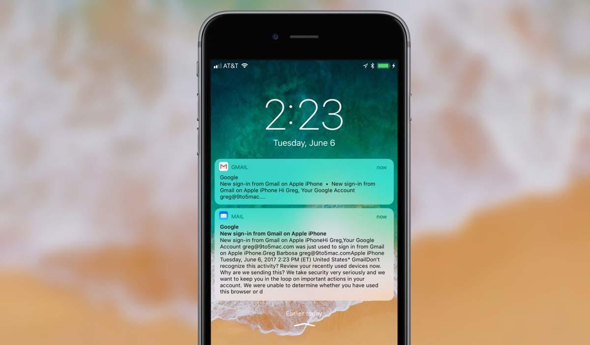 iOS11 Gmail プッシュ通知