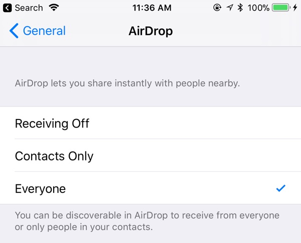 iOS11 beta 4 Airdorop 設定画面