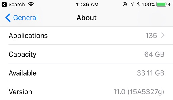iOS11 beta 4 ストレージ容量表示
