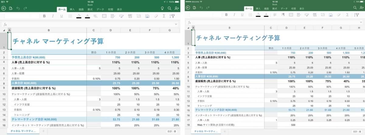 Microsoft Office 表示領域の違い