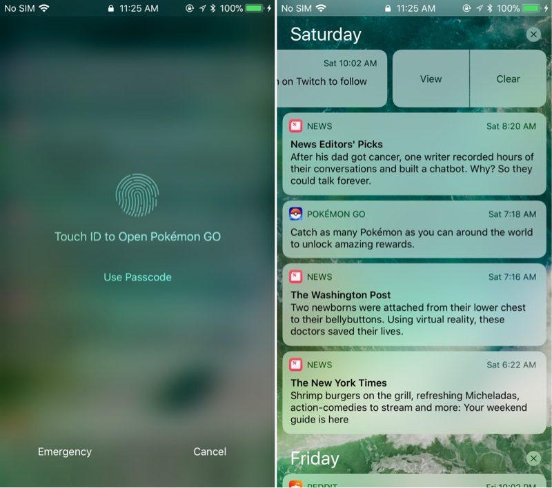 iOS11 beta 4 通知センター