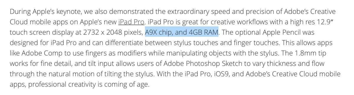 iPad Pro 4GBのRAM