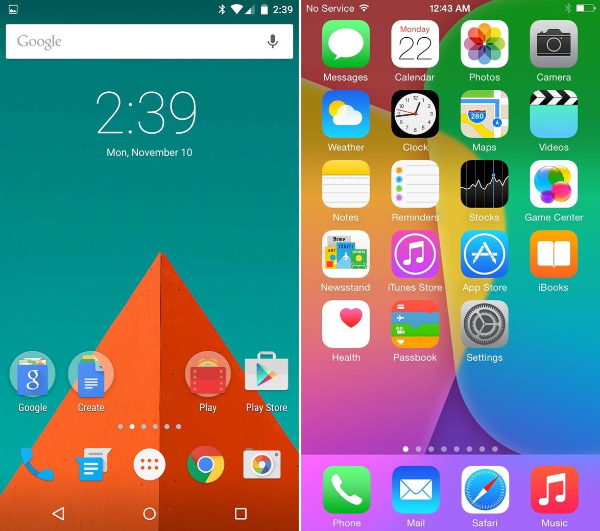 ホームスクリーン画面 iOS8 android5