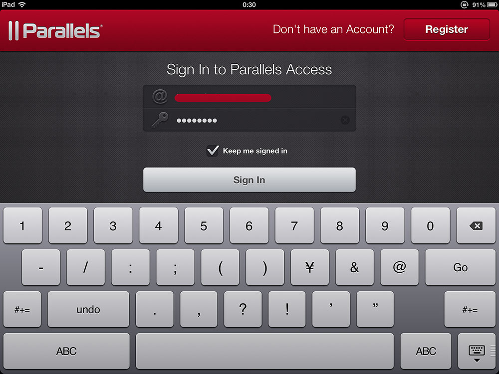 Parallels Access for iPad ログイン