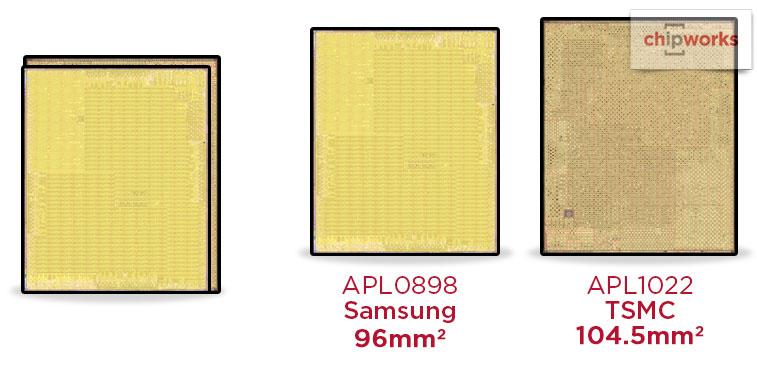 A9プロセッサのダイサイズの違い