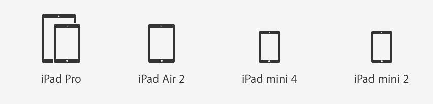 iPad ラインナップ 201604
