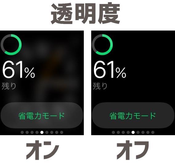 Apple Watch 透明度を下げる