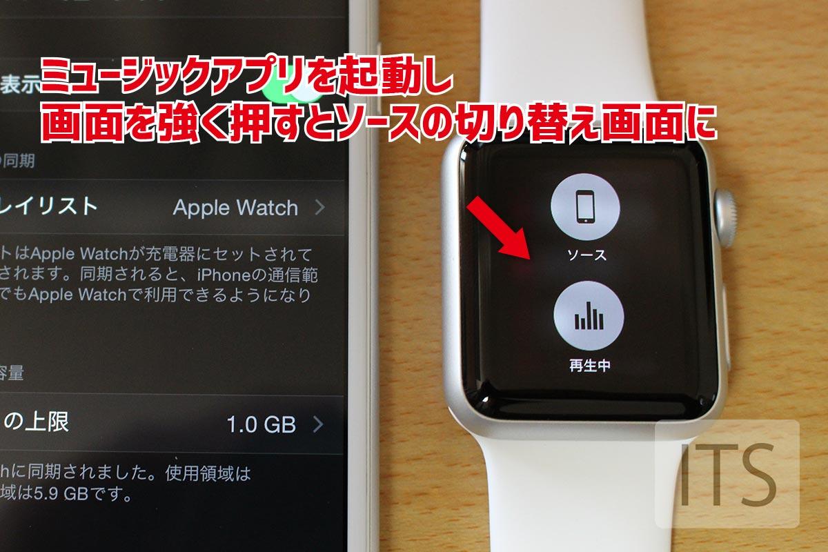Apple Watchの音楽アプリ ソース切り替え