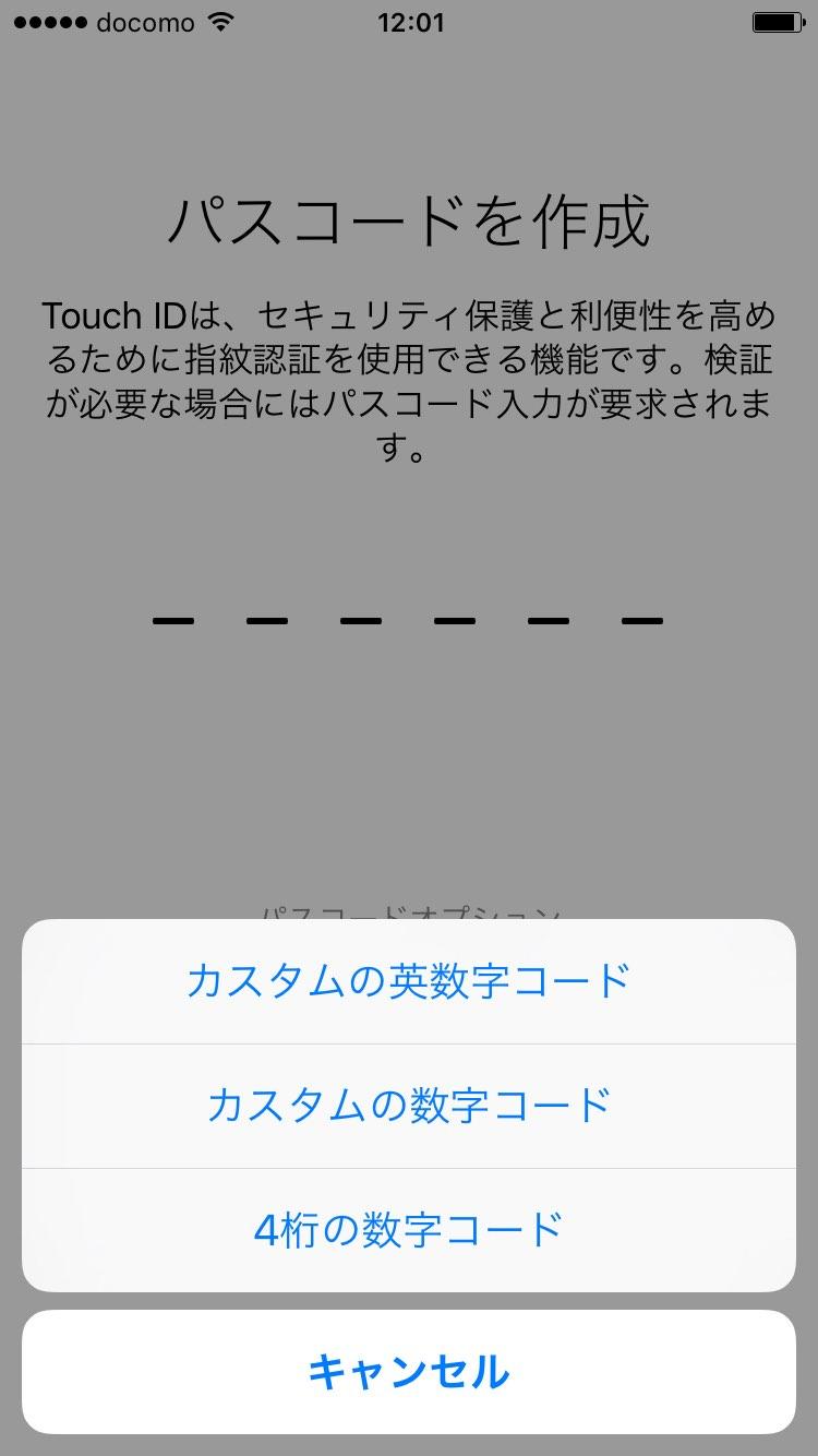 パスコードの設定 オプション