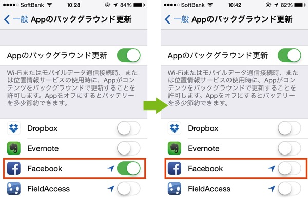 Facebookアプリ バックグランド