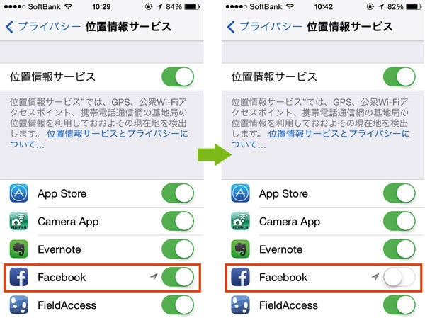 Facebookアプリ 位置情報