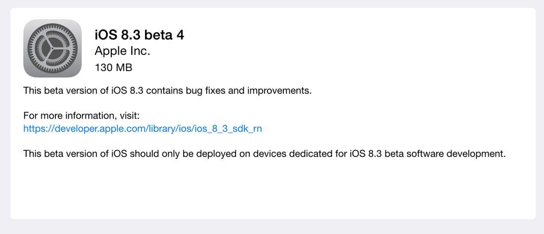iOS8.3 beta 4