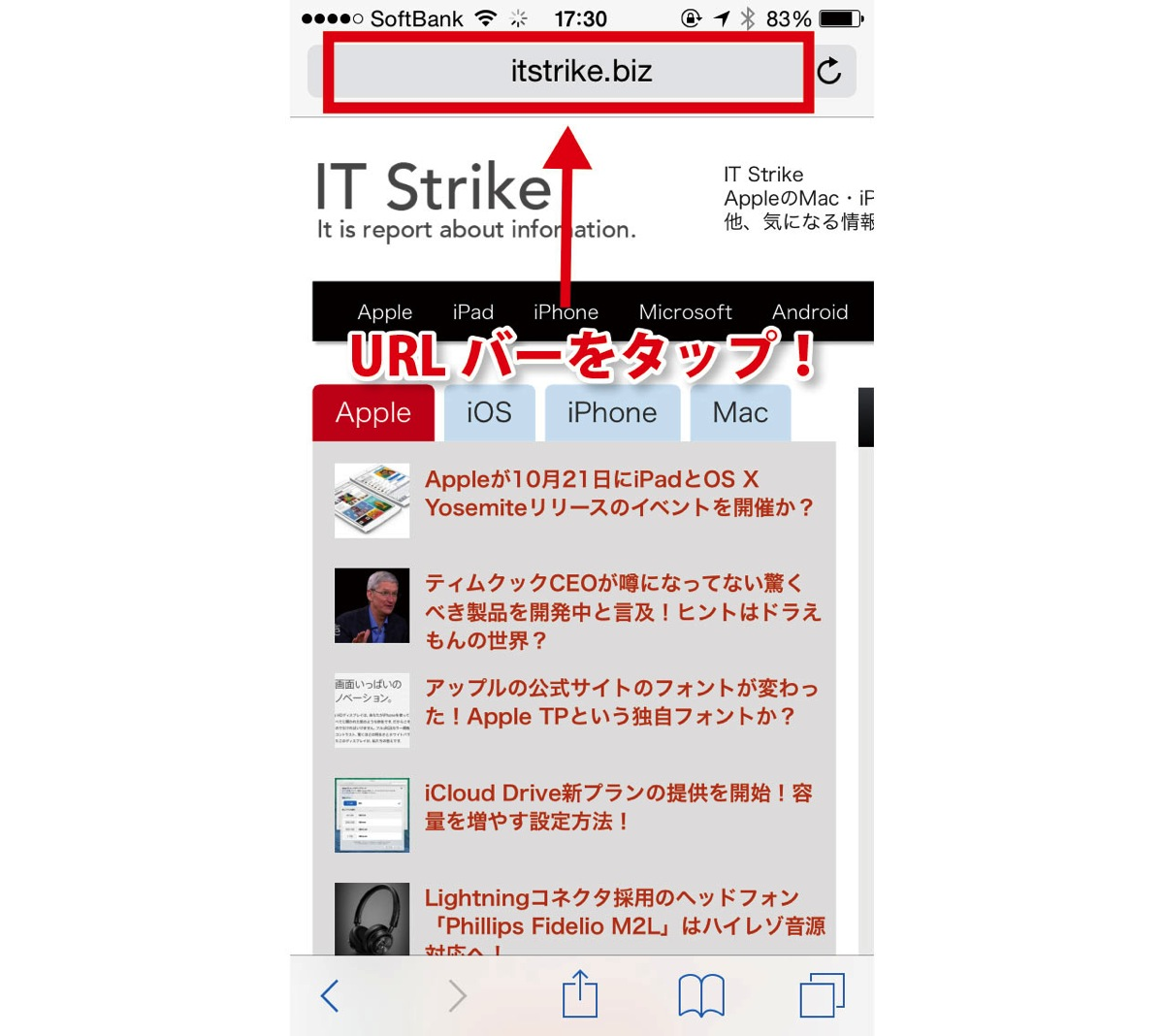 iOS 8 デスクトップ表示方法1