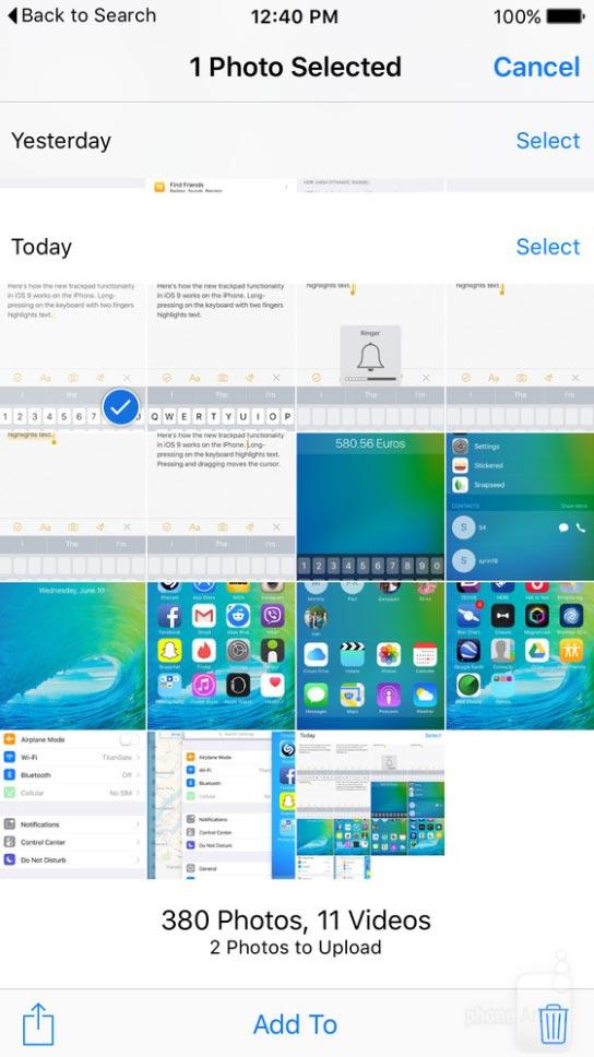 iOS 9 写真アプリ 選択画面
