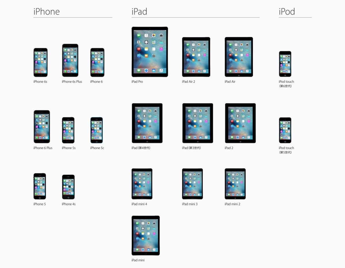 iOS9 アップグレードデバイス